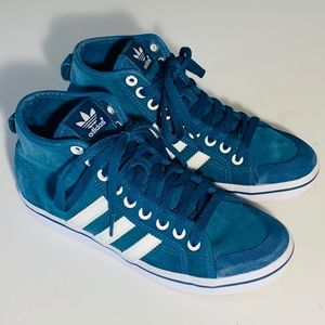 Adidas blue suede high top sneakers